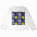 Sunflower Line Blue Yellpw Kids Long Sleeve T-Shirts Front
