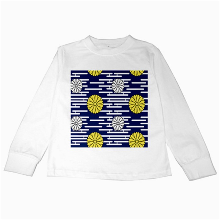 Sunflower Line Blue Yellpw Kids Long Sleeve T-Shirts
