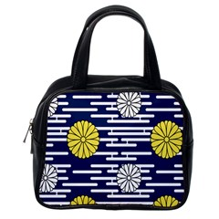 Sunflower Line Blue Yellpw Classic Handbags (one Side) by Mariart