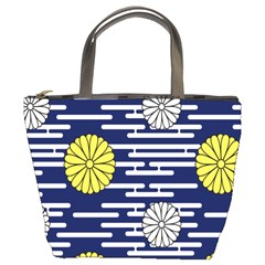 Sunflower Line Blue Yellpw Bucket Bags by Mariart