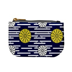 Sunflower Line Blue Yellpw Mini Coin Purses by Mariart