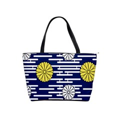 Sunflower Line Blue Yellpw Shoulder Handbags by Mariart