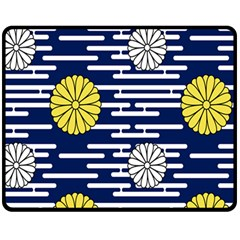 Sunflower Line Blue Yellpw Fleece Blanket (medium)  by Mariart