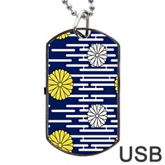 Sunflower Line Blue Yellpw Dog Tag Usb Flash (one Side) by Mariart