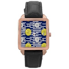 Sunflower Line Blue Yellpw Rose Gold Leather Watch  by Mariart