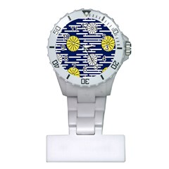 Sunflower Line Blue Yellpw Plastic Nurses Watch by Mariart