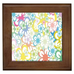 Star Flower Rainbow Sunflower Sakura Framed Tiles by Mariart