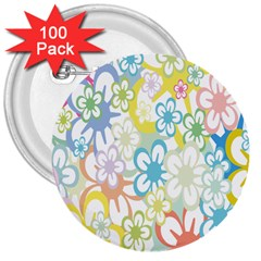 Star Flower Rainbow Sunflower Sakura 3  Buttons (100 Pack)  by Mariart