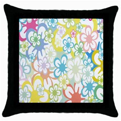 Star Flower Rainbow Sunflower Sakura Throw Pillow Case (black) by Mariart