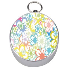 Star Flower Rainbow Sunflower Sakura Silver Compasses by Mariart