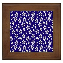 Star Flower Blue White Framed Tiles by Mariart