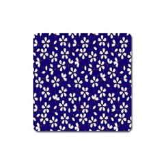 Star Flower Blue White Square Magnet by Mariart