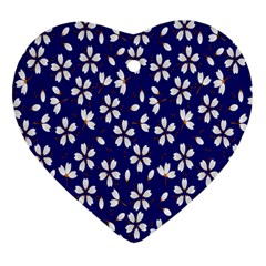 Star Flower Blue White Heart Ornament (two Sides) by Mariart