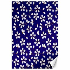 Star Flower Blue White Canvas 12  X 18   by Mariart
