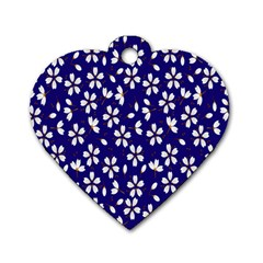 Star Flower Blue White Dog Tag Heart (two Sides) by Mariart