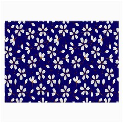 Star Flower Blue White Large Glasses Cloth by Mariart