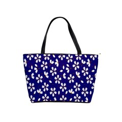 Star Flower Blue White Shoulder Handbags by Mariart