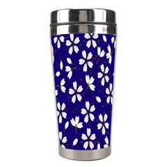 Star Flower Blue White Stainless Steel Travel Tumblers by Mariart