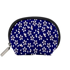 Star Flower Blue White Accessory Pouches (small)  by Mariart