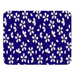 Star Flower Blue White Double Sided Flano Blanket (large)  by Mariart