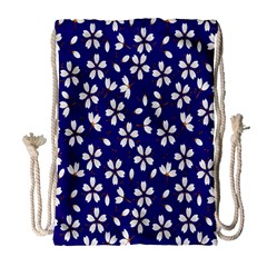 Star Flower Blue White Drawstring Bag (large) by Mariart
