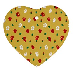 Tulip Sunflower Sakura Flower Floral Red White Leaf Green Ornament (heart) by Mariart