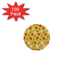 Tulip Sunflower Sakura Flower Floral Red White Leaf Green 1  Mini Buttons (100 Pack)  by Mariart