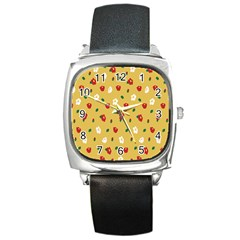 Tulip Sunflower Sakura Flower Floral Red White Leaf Green Square Metal Watch by Mariart