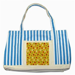 Tulip Sunflower Sakura Flower Floral Red White Leaf Green Striped Blue Tote Bag by Mariart