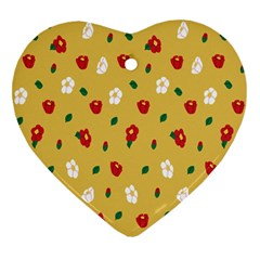 Tulip Sunflower Sakura Flower Floral Red White Leaf Green Heart Ornament (two Sides) by Mariart