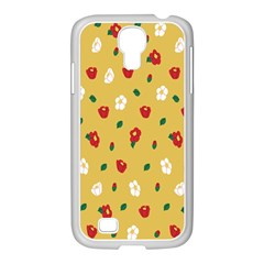 Tulip Sunflower Sakura Flower Floral Red White Leaf Green Samsung Galaxy S4 I9500/ I9505 Case (white)