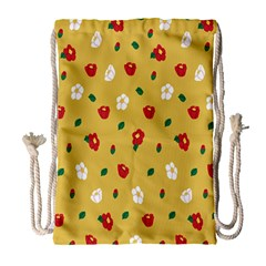 Tulip Sunflower Sakura Flower Floral Red White Leaf Green Drawstring Bag (large) by Mariart