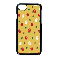 Tulip Sunflower Sakura Flower Floral Red White Leaf Green Apple Iphone 7 Seamless Case (black) by Mariart