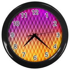Triangle Plaid Chevron Wave Pink Purple Yellow Rainbow Wall Clocks (black) by Mariart