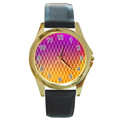 Triangle Plaid Chevron Wave Pink Purple Yellow Rainbow Round Gold Metal Watch by Mariart