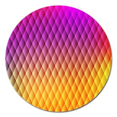Triangle Plaid Chevron Wave Pink Purple Yellow Rainbow Magnet 5  (round) by Mariart