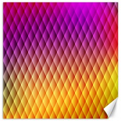 Triangle Plaid Chevron Wave Pink Purple Yellow Rainbow Canvas 20  X 20   by Mariart