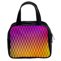 Triangle Plaid Chevron Wave Pink Purple Yellow Rainbow Classic Handbags (2 Sides) by Mariart
