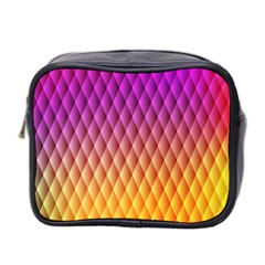 Triangle Plaid Chevron Wave Pink Purple Yellow Rainbow Mini Toiletries Bag 2 Side by Mariart