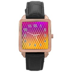 Triangle Plaid Chevron Wave Pink Purple Yellow Rainbow Rose Gold Leather Watch  by Mariart