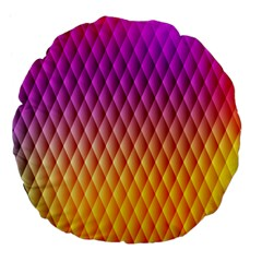 Triangle Plaid Chevron Wave Pink Purple Yellow Rainbow Large 18  Premium Flano Round Cushions by Mariart