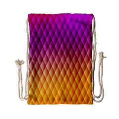 Triangle Plaid Chevron Wave Pink Purple Yellow Rainbow Drawstring Bag (small) by Mariart