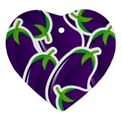 Vegetable Eggplant Purple Green Ornament (heart) by Mariart