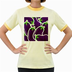 Vegetable Eggplant Purple Green Women s Fitted Ringer T Shirts