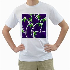 Vegetable Eggplant Purple Green Men s T Shirt (white) (two Sided) by Mariart