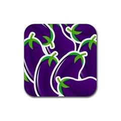 Vegetable Eggplant Purple Green Rubber Square Coaster (4 Pack)  by Mariart