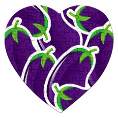 Vegetable Eggplant Purple Green Jigsaw Puzzle (heart) by Mariart