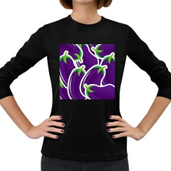 Vegetable Eggplant Purple Green Women s Long Sleeve Dark T Shirts by Mariart