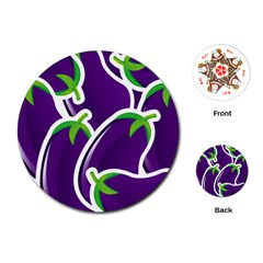 Vegetable Eggplant Purple Green Playing Cards (round)  by Mariart