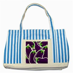 Vegetable Eggplant Purple Green Striped Blue Tote Bag by Mariart